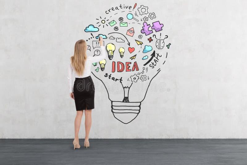 在一个电灯泡里面的白肤金发的妇女图画企业想法剪影 免版税库存图片