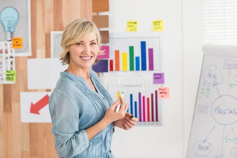 在一个白板的微笑的女实业家文字 免版税库存照片