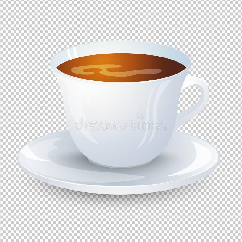 在一个白色杯子的经典无奶咖啡有在透明背景隔绝的茶碟的 喜爱的早晨饮料 向量Illustratio 向量例证