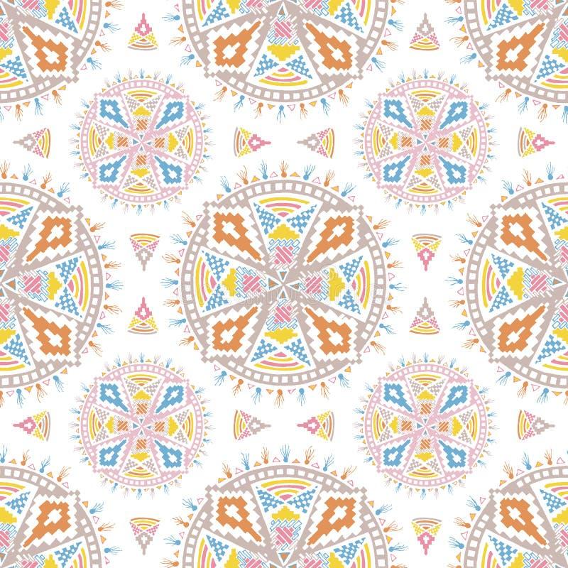 在一个白色瓦片的五颜六色的阿兹台克坛场样式 皇族释放例证