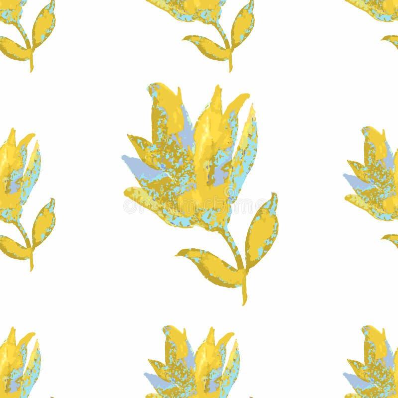 在一个白色米黄幻想的无缝的花纹花样 传染媒介illustr 向量例证