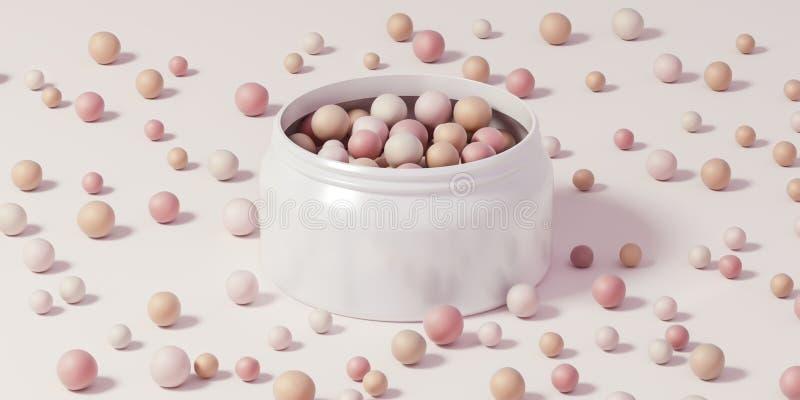 在一个白色罐头驱散的构成的- 3D陨石例证 皇族释放例证