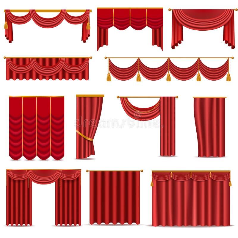 在一个白色背景例证隔绝的剧院场面红色盲帷幕阶段织品纹理 库存例证