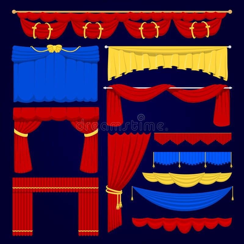 在一个白色背景例证隔绝的剧院场面红色,蓝色和黄色盲目的帷幕阶段织品纹理 向量例证