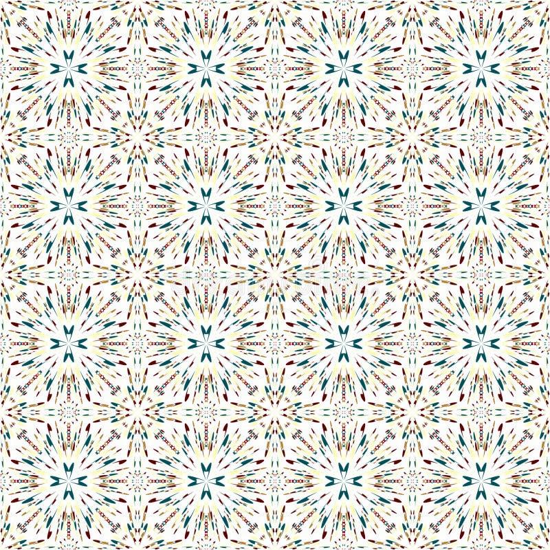 在一个白色背景无缝的样式的五颜六色的抽象几何对象导航例证 库存例证