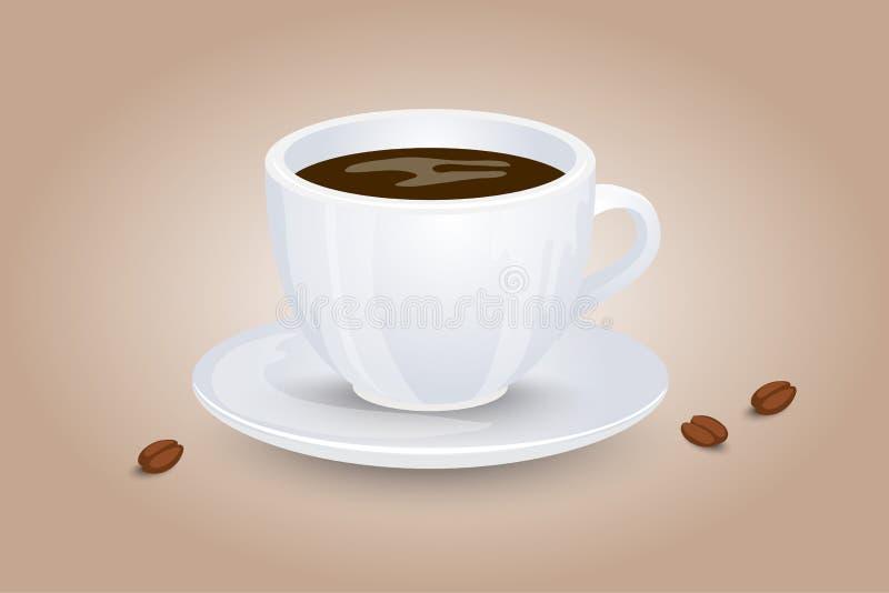 在一个白色茶杯的经典无奶咖啡 喜爱的早晨饮料 也corel凹道例证向量 向量例证