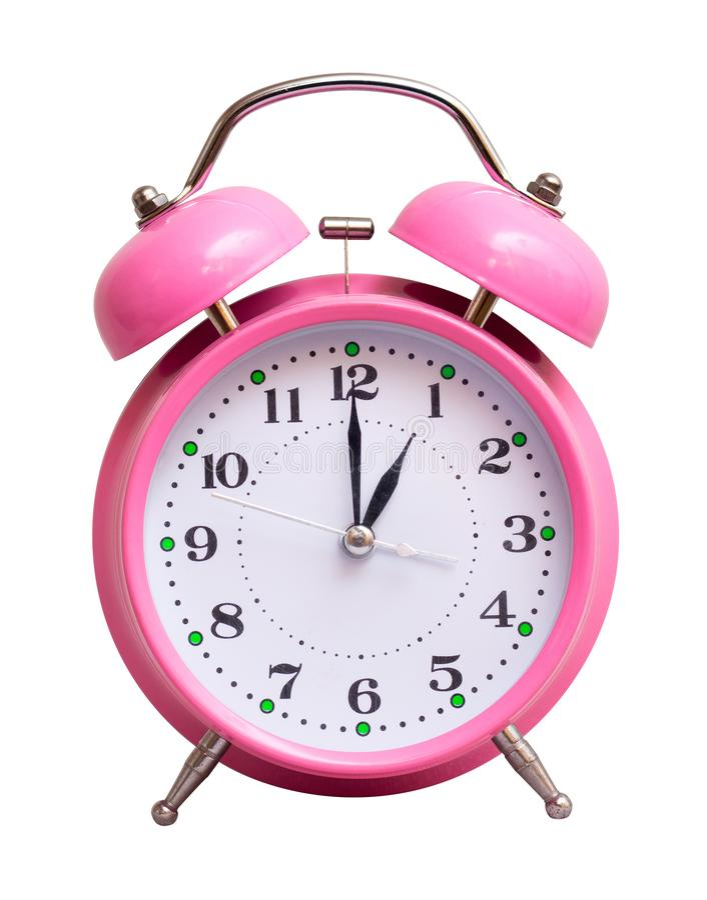 在一个白色被隔绝的背景展示的桃红色时钟1个小时 免版税库存图片