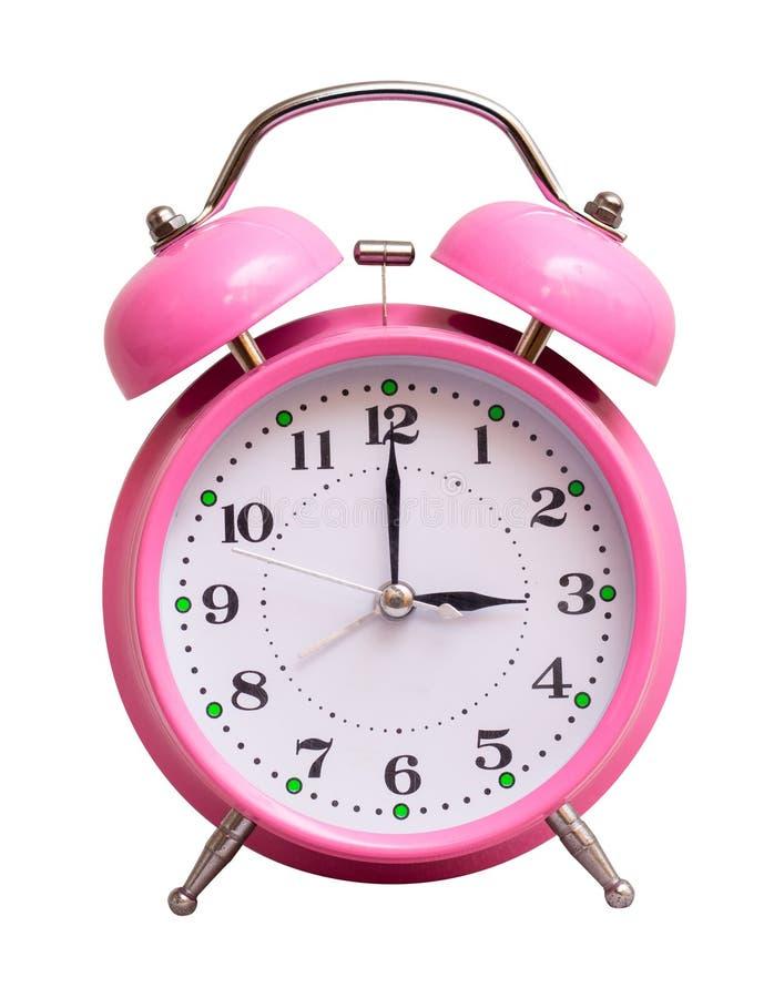 在一个白色被隔绝的背景展示的桃红色时钟3个小时 免版税图库摄影