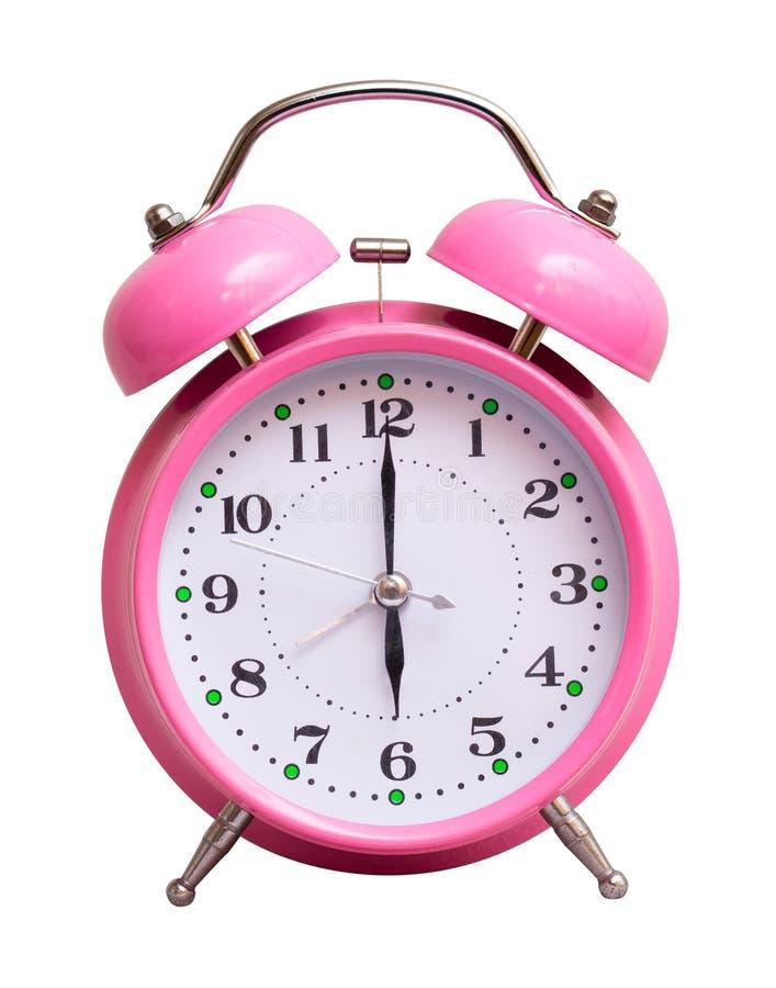 在一个白色被隔绝的背景展示的桃红色时钟6个小时 免版税库存图片