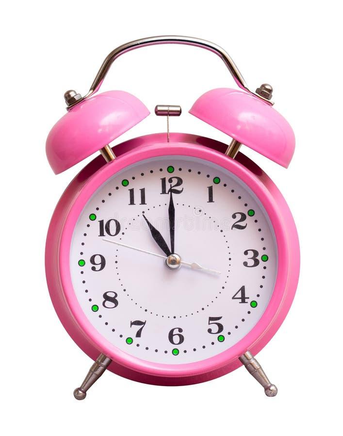 在一个白色被隔绝的背景展示的桃红色时钟11个小时 库存图片