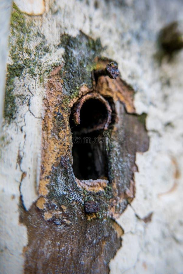 在一个白色门的一个生锈的老匙孔 库存照片