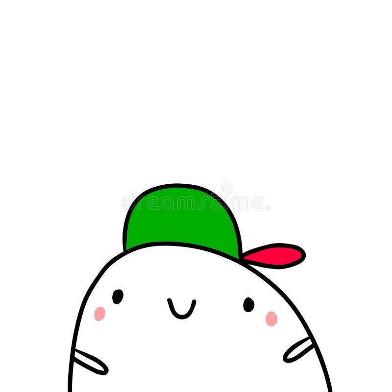 在一个盖帽手拉的例证的凉快的青少年用逗人喜爱的蛋白软糖 库存例证