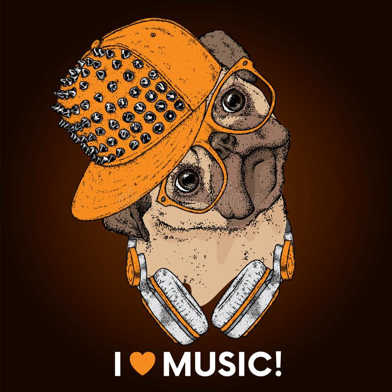 在一个盖帽的美丽的哈巴狗有钉和耳机的 导航明信片或海报的,衣裳的印刷品例证 库存例证