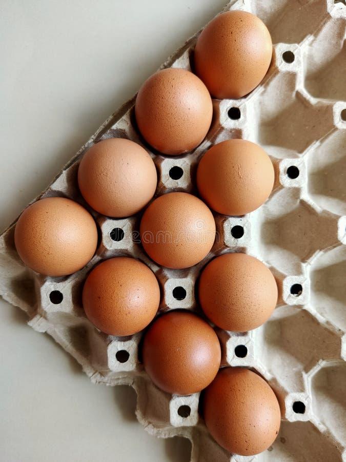 在一个盘区的新鲜的鸡蛋从一家蛋商店在市场上 库存照片