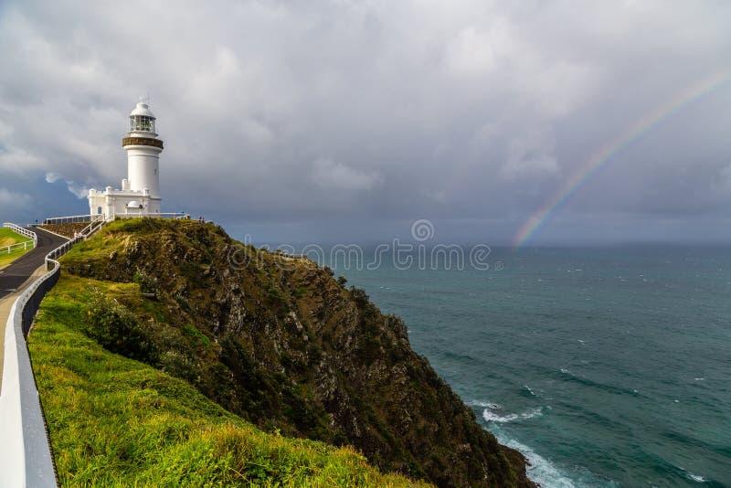 在一个码头的灯塔在澳大利亚 免版税图库摄影