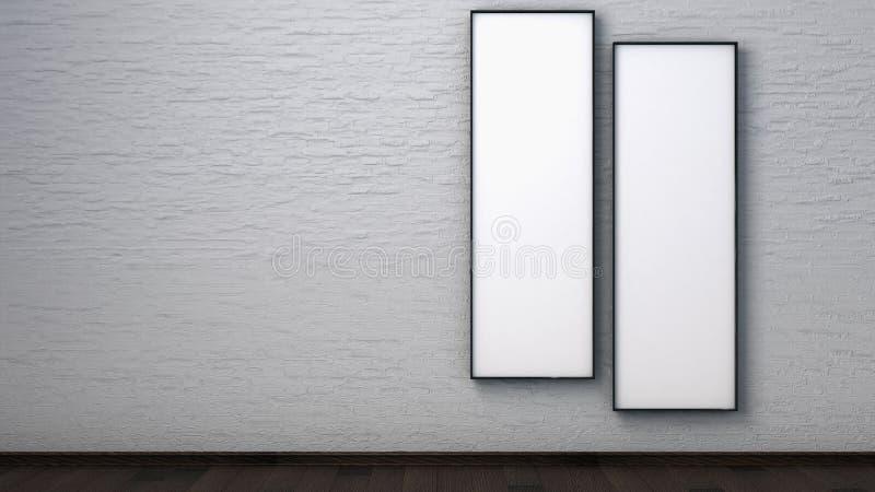 在一个砖墙上的海报在内部 3d回报 库存照片