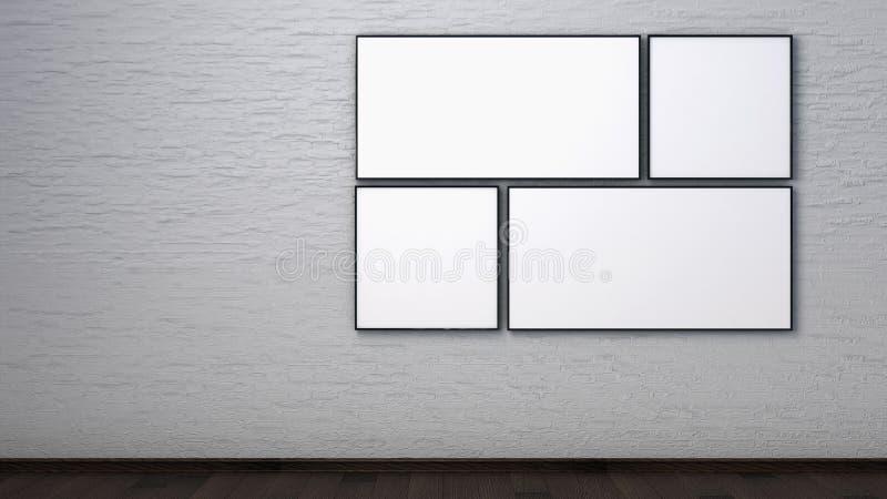 在一个砖墙上的海报在内部 3d回报 免版税库存图片