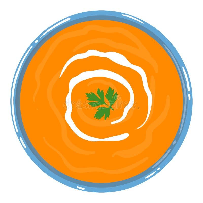 在一个碗的南瓜汤有酸性稀奶油和荷兰芹的,被隔绝 r r 向量例证