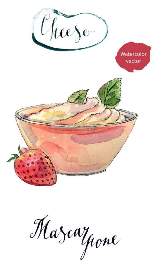 在一个碗的新鲜的自创乳酪mascarpone用草莓 皇族释放例证