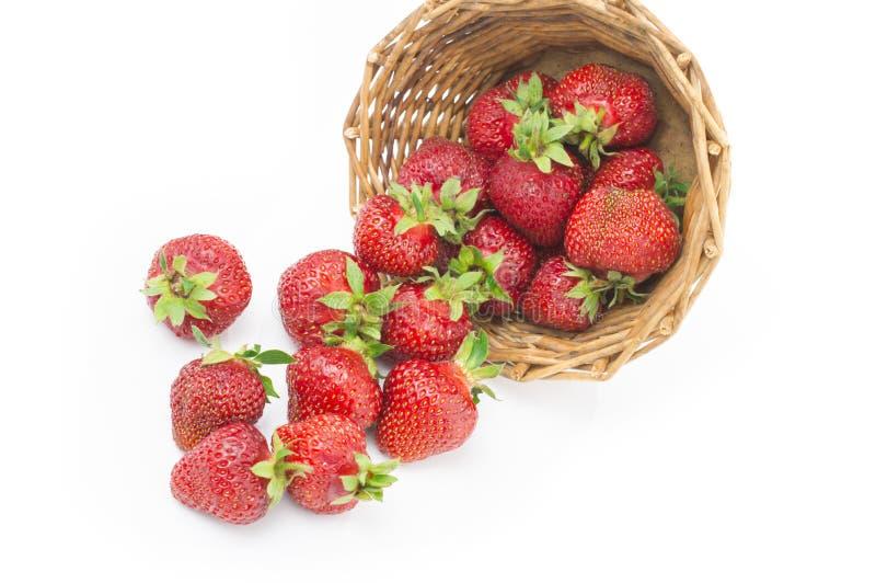 在一个碗的红色新鲜的草莓在白色背景 库存照片