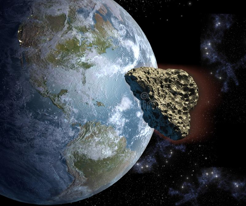 在一个碰撞航向的小行星与地球 向量例证