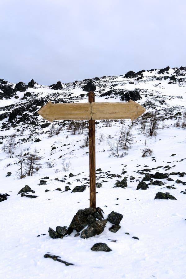在一个离开的风景的双向路标 图库摄影