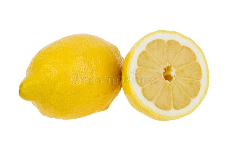 在一个空白背景的柠檬 库存照片