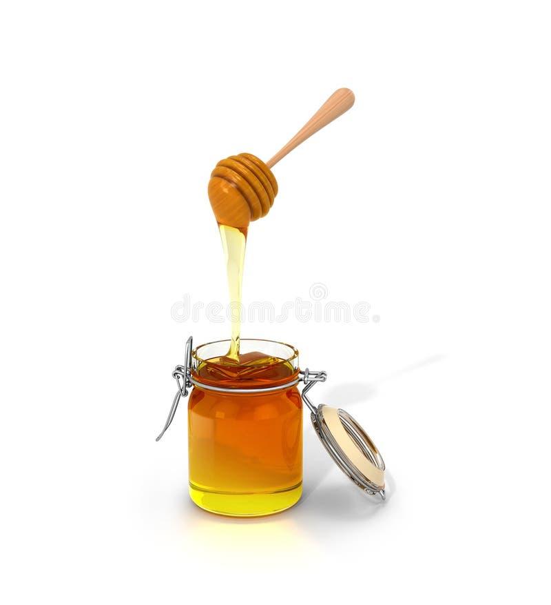 在一个空白背景的蜂蜜 库存例证
