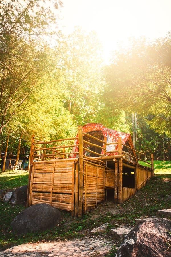 在一个竹地板上的帐篷在小山自然背景 库存图片