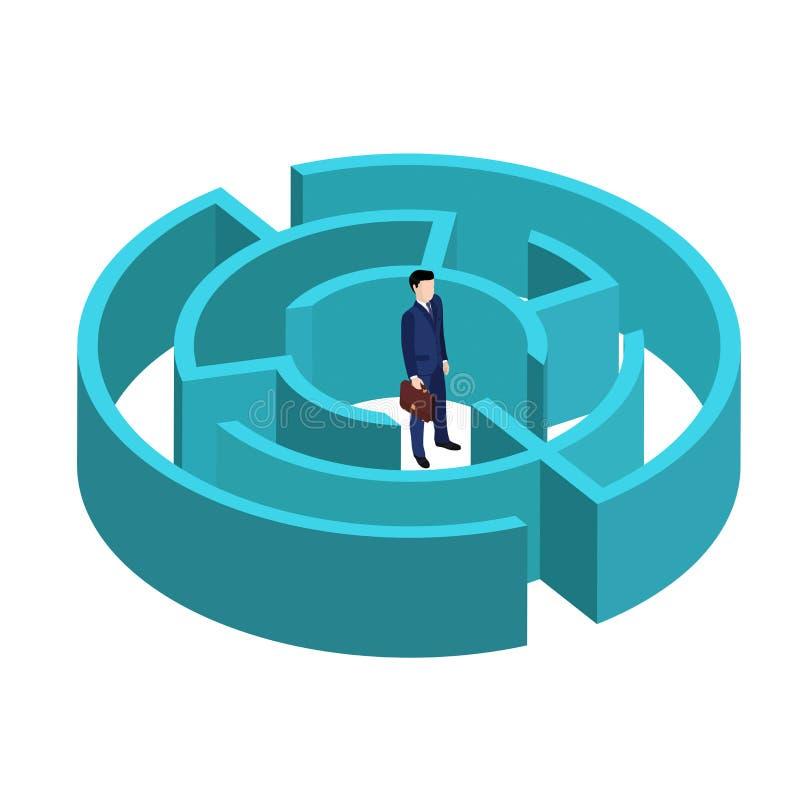 在一个等量样式的一个图象,一套衣服的一个商人与公文包在迷宫中间站立 库存例证