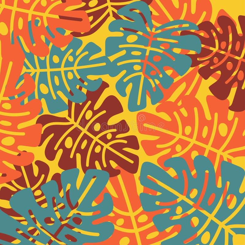 在一个简单的样式的明亮的热带叶子 E 皇族释放例证