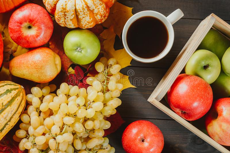 在一个箱子的成熟苹果用南瓜,苹果、葡萄、梨和咖啡在黑暗的木背景的 秋天季节性图象 顶层 库存照片