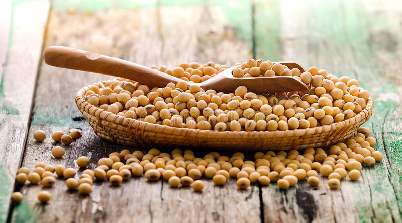 在一个篮子的大豆豆在木 免版税图库摄影
