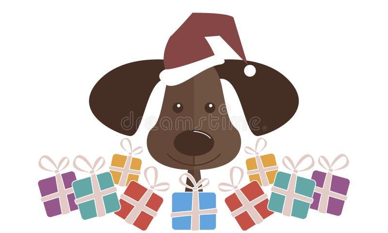 在一个红色圣诞老人帽子的一条狗有礼物的 新年快乐和圣诞节 库存照片