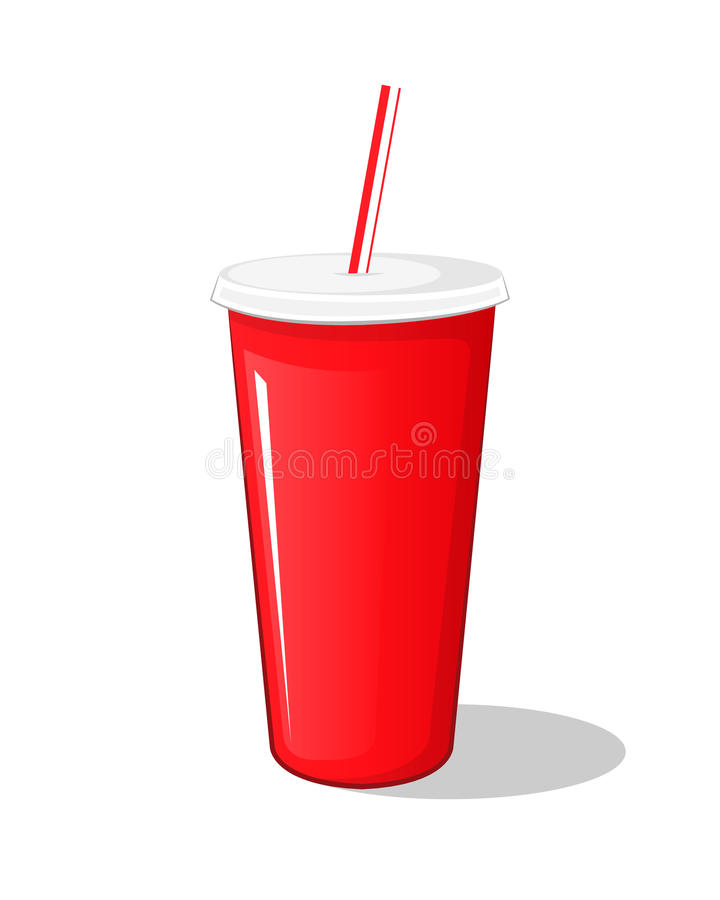 在一个红色塑料罐纸板杯子的可乐饮料有被隔绝的筷子的 库存例证