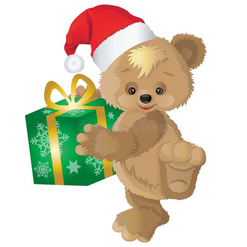 在一个红色帽子的逗人喜爱的熊有新年在箱子的` s礼物的 向量例证