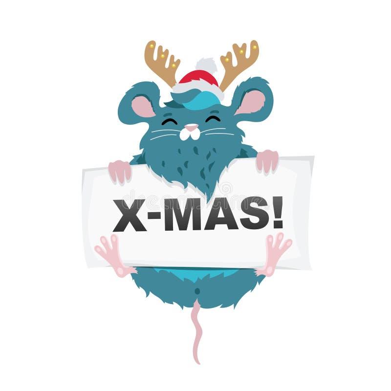 在一个红色帽子的鼠圣诞老人项目有鹿垫铁和纸片的 库存例证