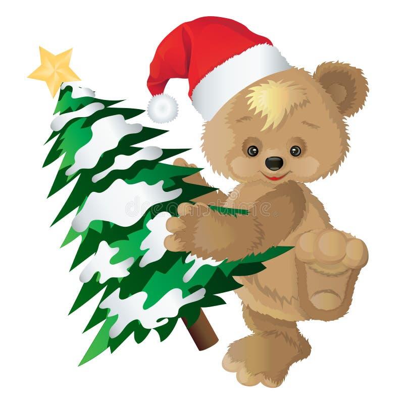 在一个红色盖帽的逗人喜爱的熊有新年` s冷杉木的 库存例证