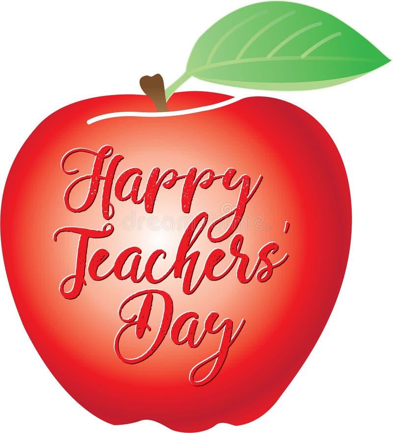 在一个红色苹果写的愉快的老师`天 库存例证