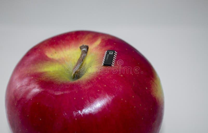 在一个红色苹果的表面登上的集成电路 免版税图库摄影