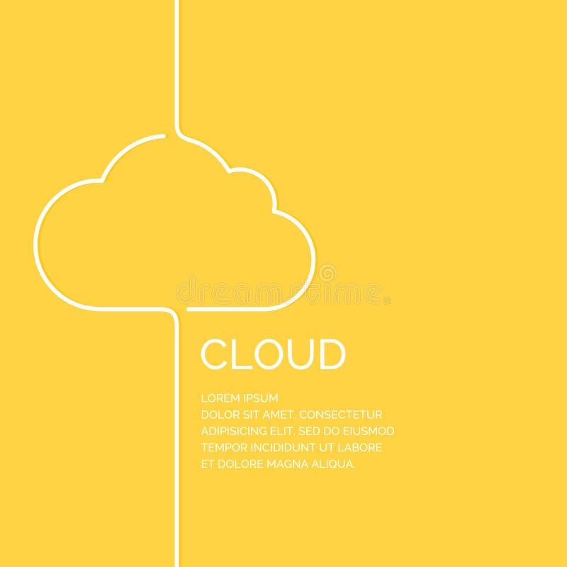 在一个线性样式的云彩 在黄色背景的例证 库存例证