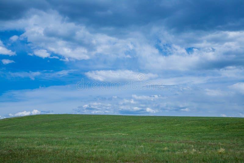 在一个绿色牧场地的多云天空有与拷贝空间的一个轻微的倾斜的 免版税库存图片
