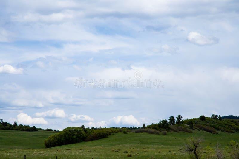 在一个绿色牧场地的多云天空有绵延山和树的 免版税库存照片