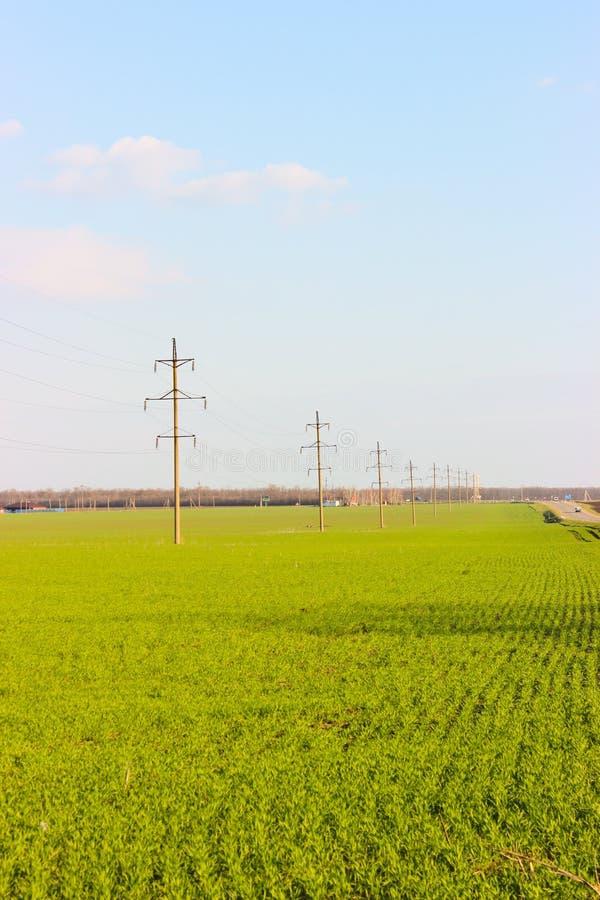 在一个绿色领域和汽车路的背景的输电线 免版税图库摄影