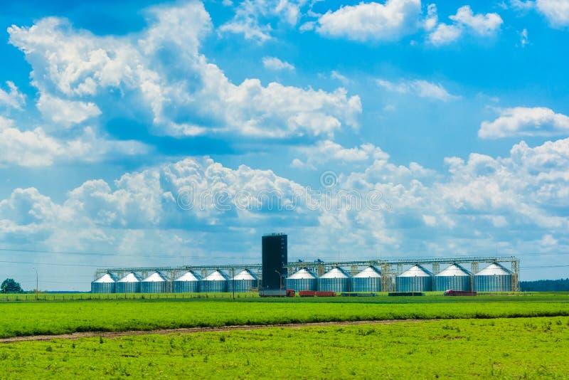 在一个绿色领域的谷物仓库 蓝色多云天空 Agricultur 库存照片
