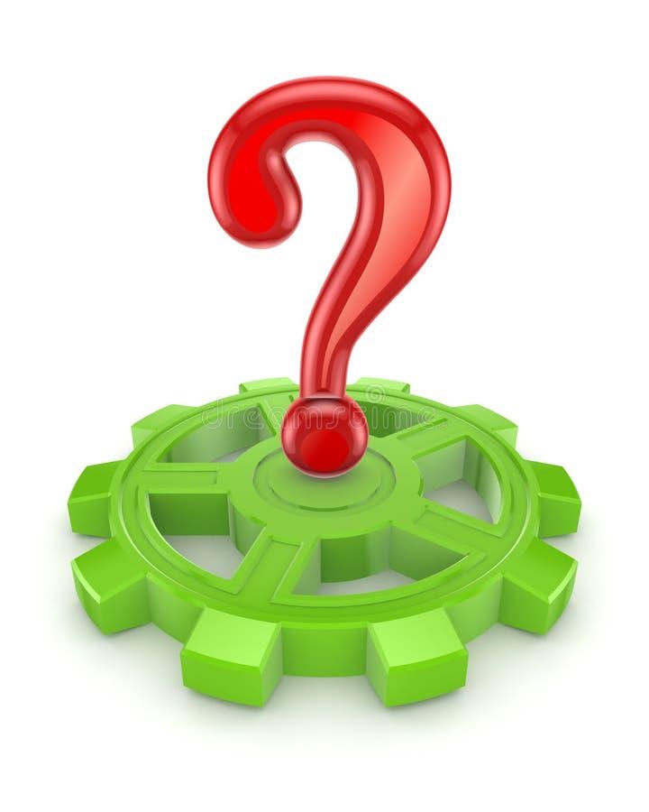 在一个绿色齿轮的红色查询符号。 库存例证