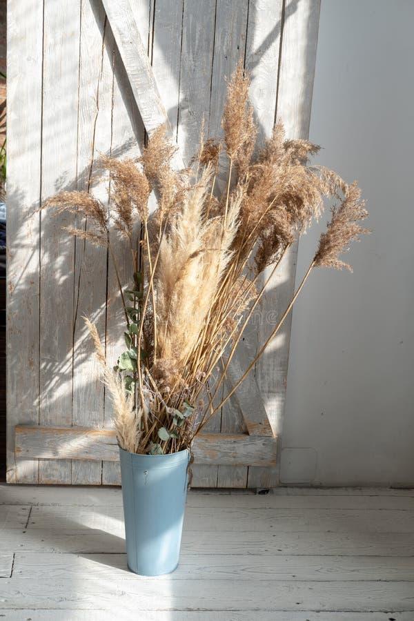 在一个罐的干花在农村内部 图库摄影