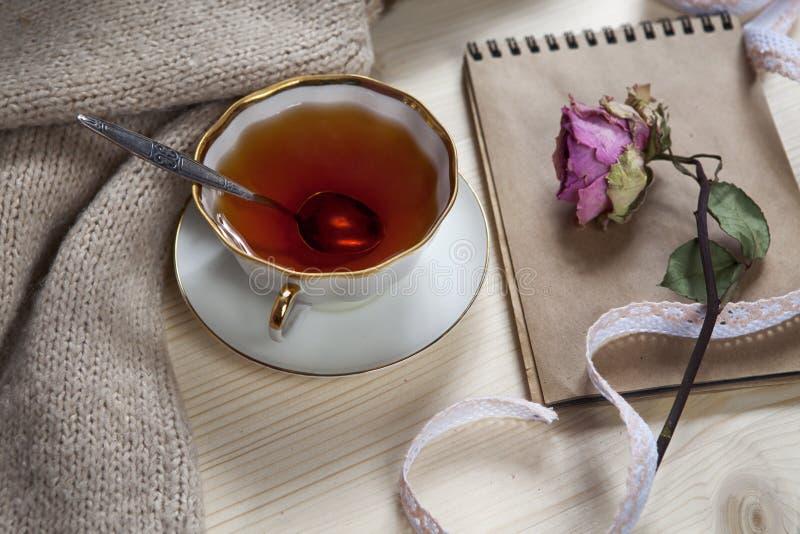在一个羊毛格子花呢披肩和垫包裹的葡萄酒茶以干燥在桌上上升了 免版税库存图片