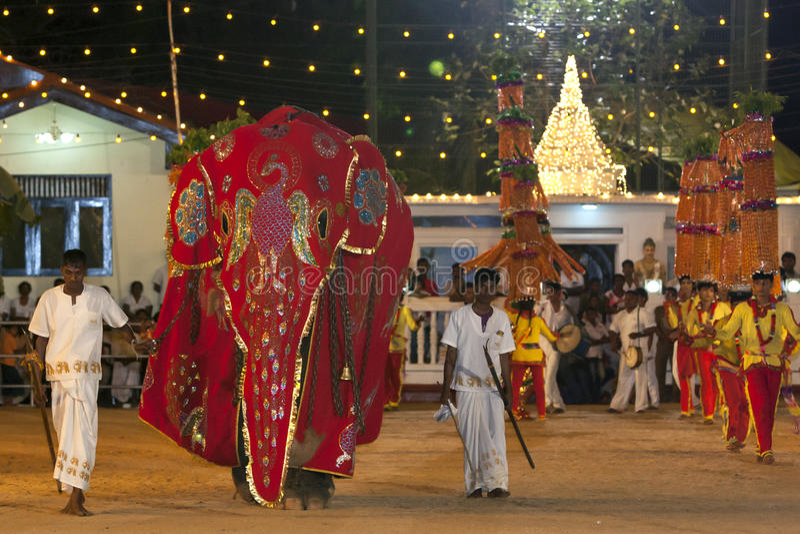 在一个美丽的红色斗篷穿戴的一头礼仪大象通过在Kataragama节日的游行被带领在斯里兰卡 库存照片