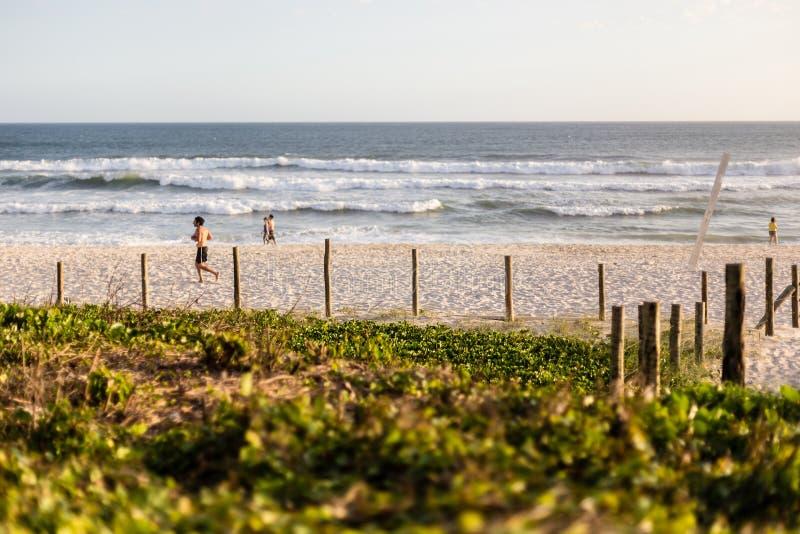在一个美好的下午的巴拉岛da Tijuca海滩 免版税库存照片